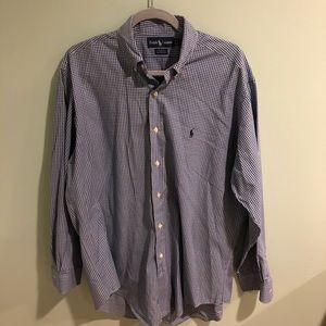 Blue yellow and white long sleeve button down.